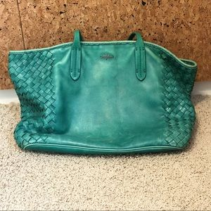 Teal Cole Hahn leather tote